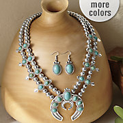 faux stone medallion necklace and earring set