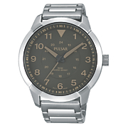 men s gray dial bracelet watch by pulsar