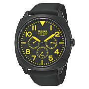 men s black chrono watch by pulsar