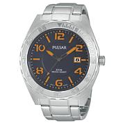 men s blue orange dial watch by pulsar