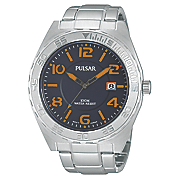 men s blue orange dial watch by pulsar