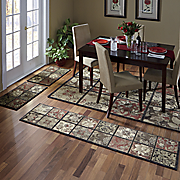 4 pc  antique tile rug set