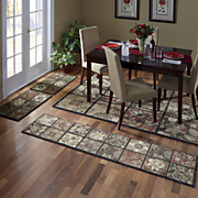 4 pc  antique tile rug set