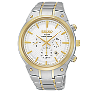 men s two tone solar chrono watch by seiko