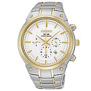 men s two tone solar chrono watch by seiko