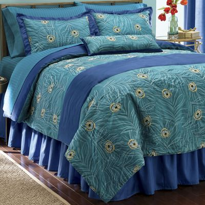 Embroidered Plumes Comforter Set, Pillow and Window Treatments