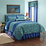 embroidered plumes comforter set  pillow and window treatments