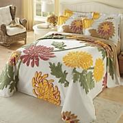 autumn garden chenille bedspread and sham