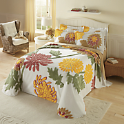 Autumn Garden Chenille Bedspread and Sham