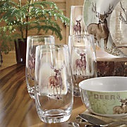 set of 4 whitetail deer drinkware by canterbury
