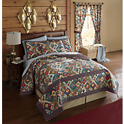 tahoe quilt  shams and tab top panel pair