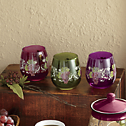 4 pc  assorted grape vineyard stemless drinkware set