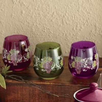 4-Piece Assorted Grape Vineyard Stemless Drinkware Set