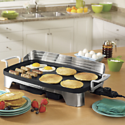 premiere electric griddle with backsplash by hamilton beach