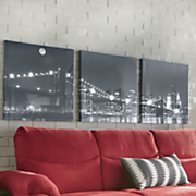 3 pc  lighted black   white cityscape art set