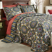 manchester bedspread  decorative pillow and window treatments
