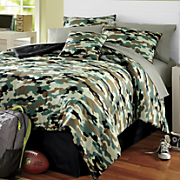Camo Complete Bed Set, Window Treatments and Decorative Pillow