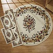 4 pc  garden floral rug set