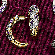 trilion cut half hoop amethyst post earrings
