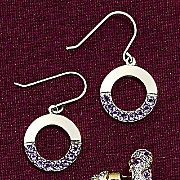 Circle Amethyst Earrings