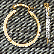 diamond front hoop earrings