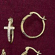 cross hoop diamond earrings