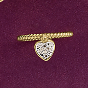 dangle heart diamond ring