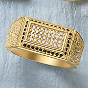 men s cubic zirconia micro pave rectangular ring