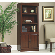 heritage hill 5 shelf library bookcase with cabinet