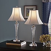 set of 2 chauvin chrome table lamps