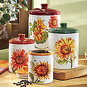 4 pc  rustic sunflower canister set