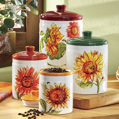 4-Piece Rustic Sunflower Canister Set