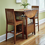 Drop-Leaf & Drawer 3-Piece Dining Set and 2 Extra Chairs