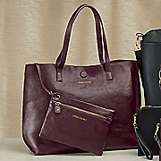 reversible leather tote by under one sky