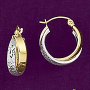 10k gold two tone wide hoop earrings