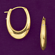 10K Gold Polished Tapered Hoop Earrings