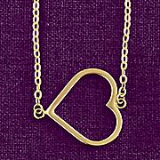 10k gold east west open heart pendant
