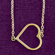 10k gold east west open heart pendant