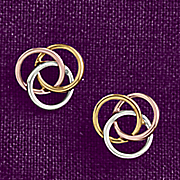 10k gold tri colored love knot earrings