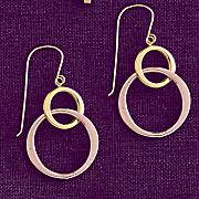 10K Gold Two-Tone Double Circle Drop Earrings