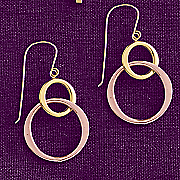 10k gold two tone double circle drop earrings