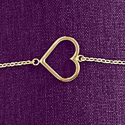 10k gold east west open heart bracelet