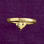 10k gold heart charm ring
