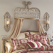 gold scroll bed crown with tiebacks