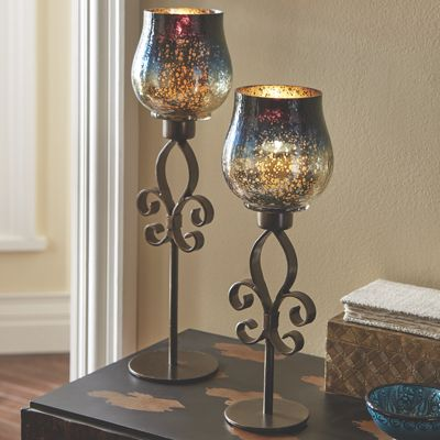 Set of 2 Mercury Glass Fleur-De-Lis Candleholders