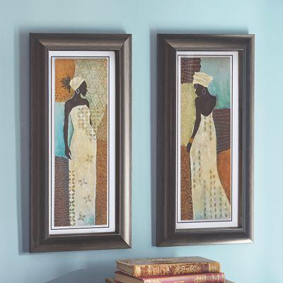 Set of 2 African Lady Framed Prints