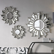 set of 3 sunburst wall mirrors