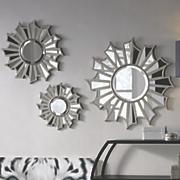 set of 3 sunburst wall mirrors