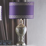 purple greek key shade lamp