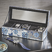 blue botanical watch box